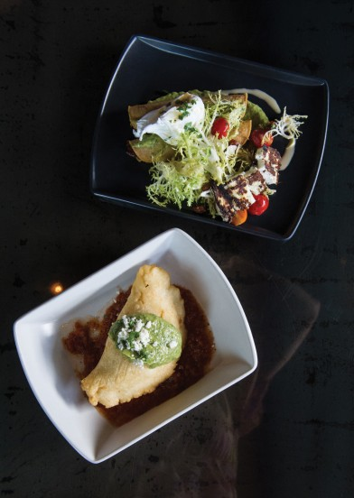 Chicken Taquitos with frisee salad, lardons, poached egg, panela—a Mexican cheese similar to Cypriotic halloumi—and Aztec vinaigrette; Vegetarian Quesadilla with mushrooms, kale and three cheeses. Photo by Elsa Hahne