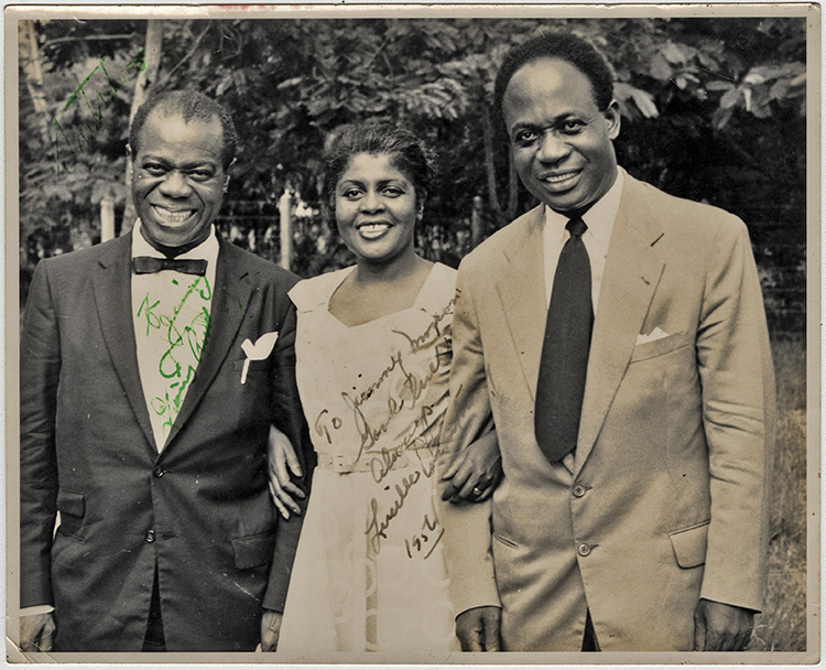 Louis Armstrong, Lucille Armstrong and Prime Minister Kwame Nkrumah. Photo via Georgetown University Library.