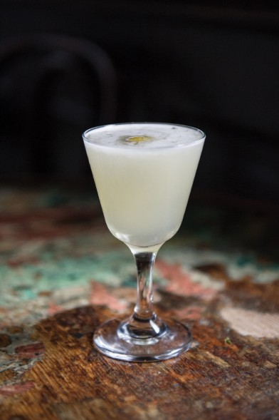 The Dirty Note 1/2 ounce falernum 1 1/2 ounces blanco tequila 1/2 ounce salted NOLA Brewing Hopitoulas syrup (see story) 1/2 ounce fresh lime juice Combine all ingredients in a shaker with ice. Shake and strain into a Nick and Nora glass, or coupe. Garnish with a green olive. Photo by Elsa Hahne