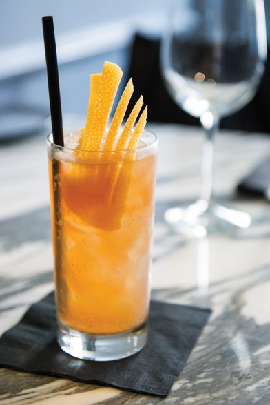 Rye Humor 1 ounce rye whiskey 3/4 ounce Aperol Stiegl radler Grapefruit twist Shake rye whiskey and Aperol with ice. Strain into a tall glass. Fill with fresh ice and top with radler. Serve with a grapefruit twist. Photo by Elsa Hahne