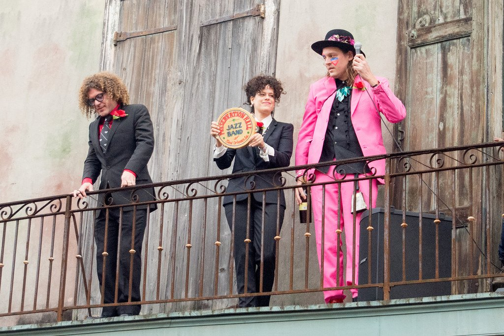 Ben Jaffe, Régine Chassagne and Win Butler during Arcade Fire's second line for David Bowie.