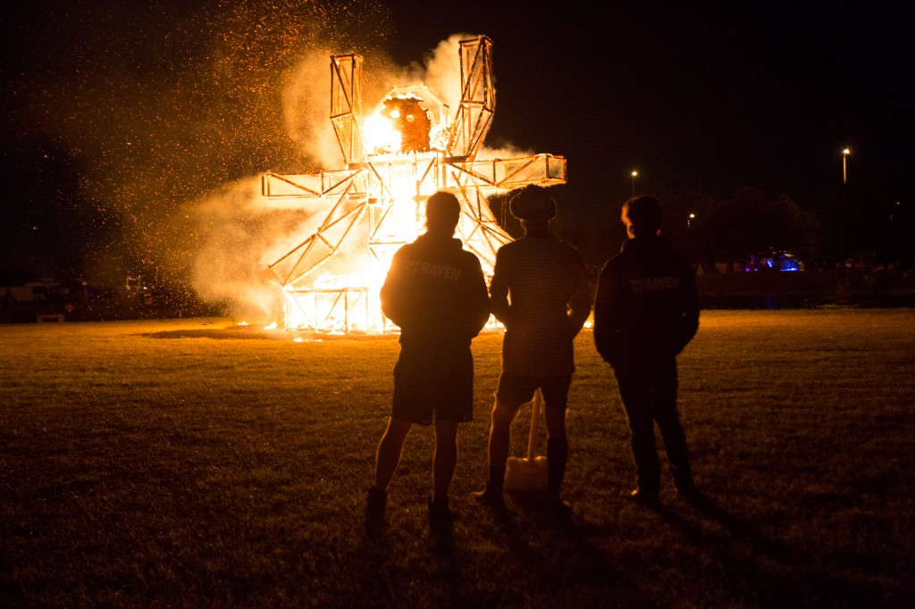 A giant wicker wookie burns at last year's Ignition Festival. Photo by Caitlyn Ridenour.