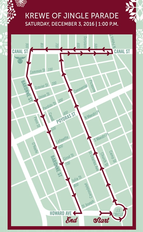 Krewe of Jingle 2016 route.