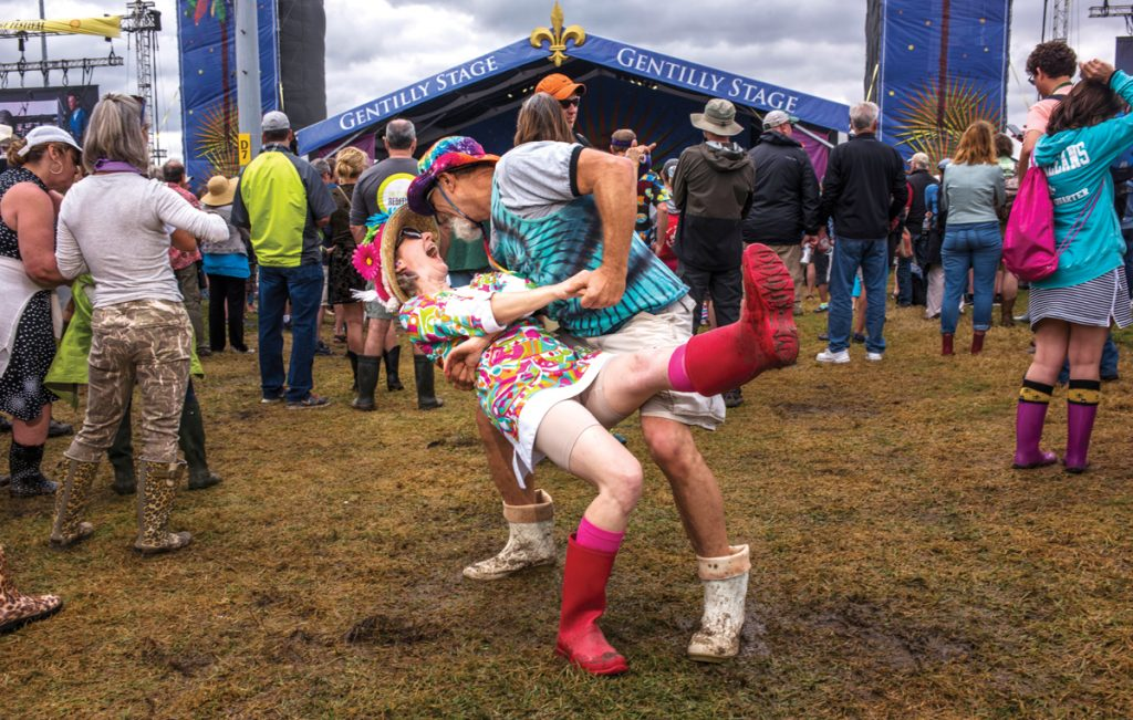 Lisa and David Wurtzel dancing at the Gentilly Stage during Jazz Fest day 4 on May 4, 2017. Photo by Ryan Hodgson-Rigsbee. www.rhrphoto.com