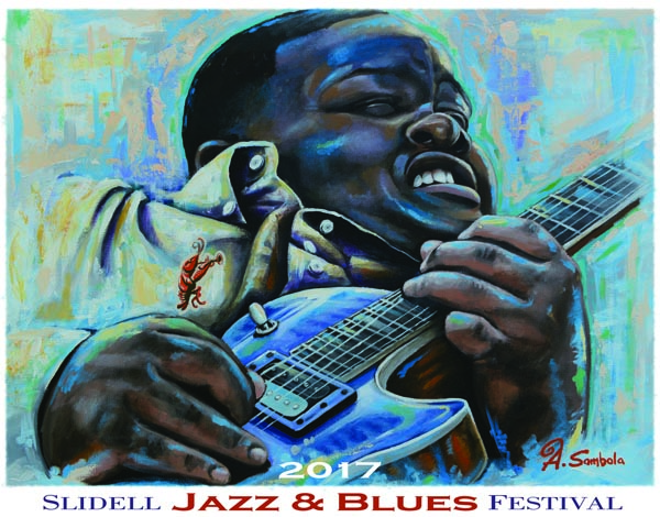 2017 Slidell Jazz and Blues Festival poster. Artwork by Adam Sambola.