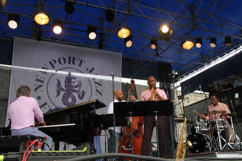 Saxophonist Branford Marsalis's quartet with pianist Joey Calderazzo, bassist Eric Revis and drummer Kobie Watkins at the 2017 Newport Jazz Festival on Saturday, August 5.