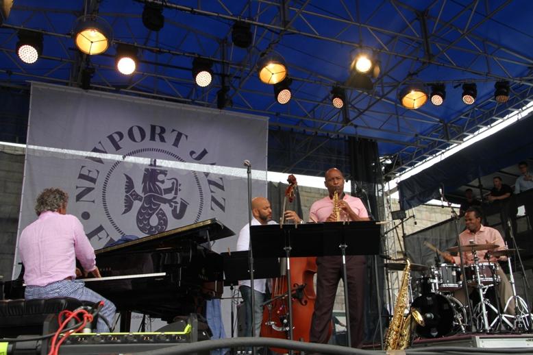 Saxophonist Branford Marsalis's quartet with pianist Joey Calderazzo, bassist Eric Revis and drummer Kobie Watkins at the 2017 Newport Jazz Festival on Saturday, August 5.