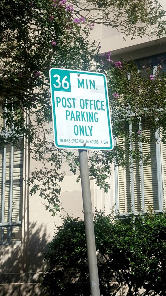 The parking situation in Hattiesburg. Vacant meters everywhere, but nary a drop of being able to stay any longer than 36 minutes. And they're monitored 24 hours a day. (I didn't look too far into this to see if it reflects a policy that actually makes sense.) Photo by Natasha Sanchez.