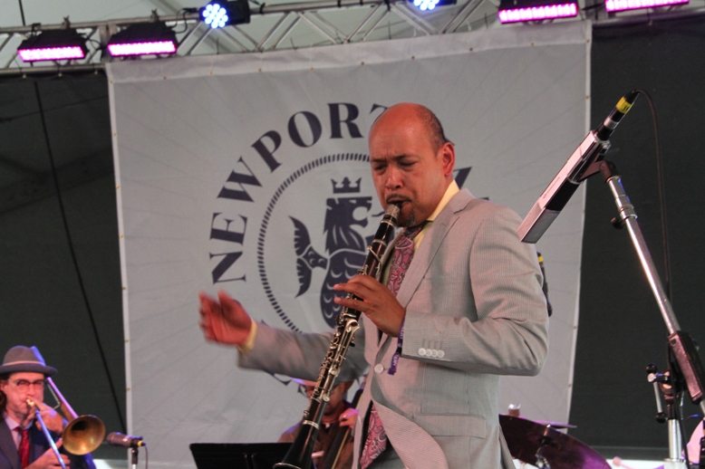 Clarinetist Evan Christopher at the 2017 Newport Jazz Festival's Quad Stage.