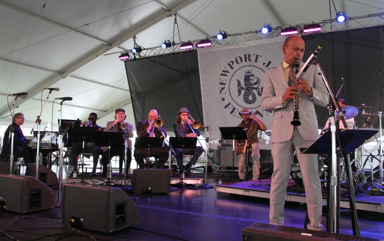 Evan Christopher and his band Clarinet Road at Newport.