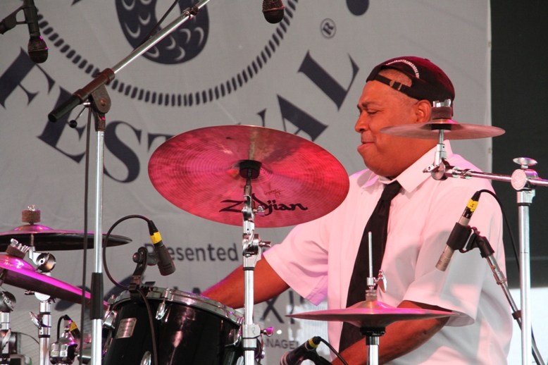 Drummer Shannon Powell powered Evan Christopher's Clarinet Road band at the 2017 Newport Jazz Festival.