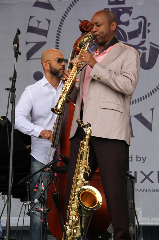Saxophonist Branford Marsalis and bassist Eric Revis at the 2017 Newport Jazz Festival on Saturday, August 5.