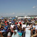 The Newport crowd came by land and water. When the breeze is favorable, a lot of music can be heard on boats anchored offshore, or even across Newport Harbor.