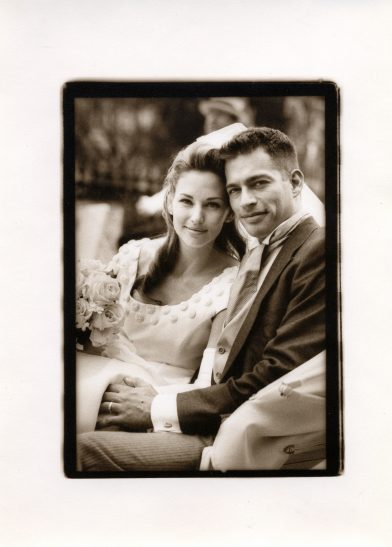 Jill Connick (left) and Harry Connick, Jr. (right) immediately following their wedding in 1994. April 16, 1994 / Photo by Palma Kolansk