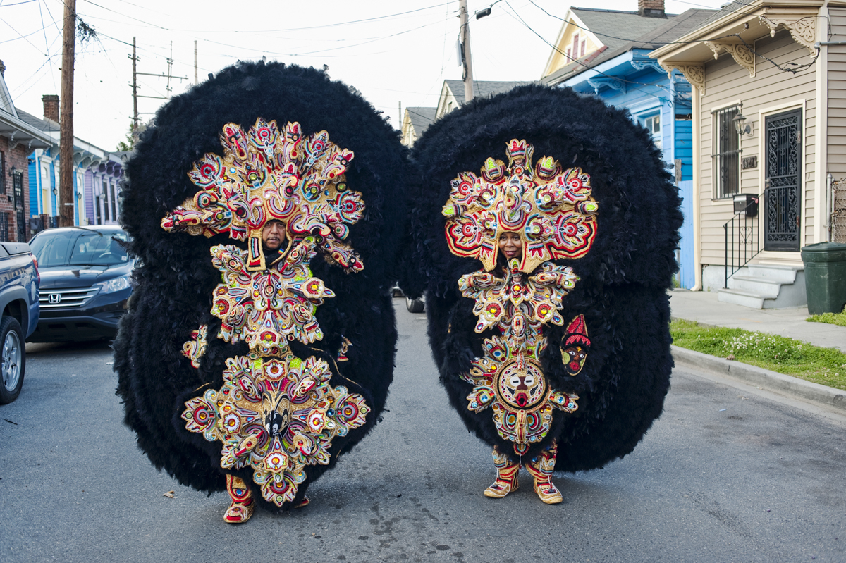 Monogram Hunters Big Chief Pie and Big Queen Denice out on St. Joseph's Night on March 19, 2014.