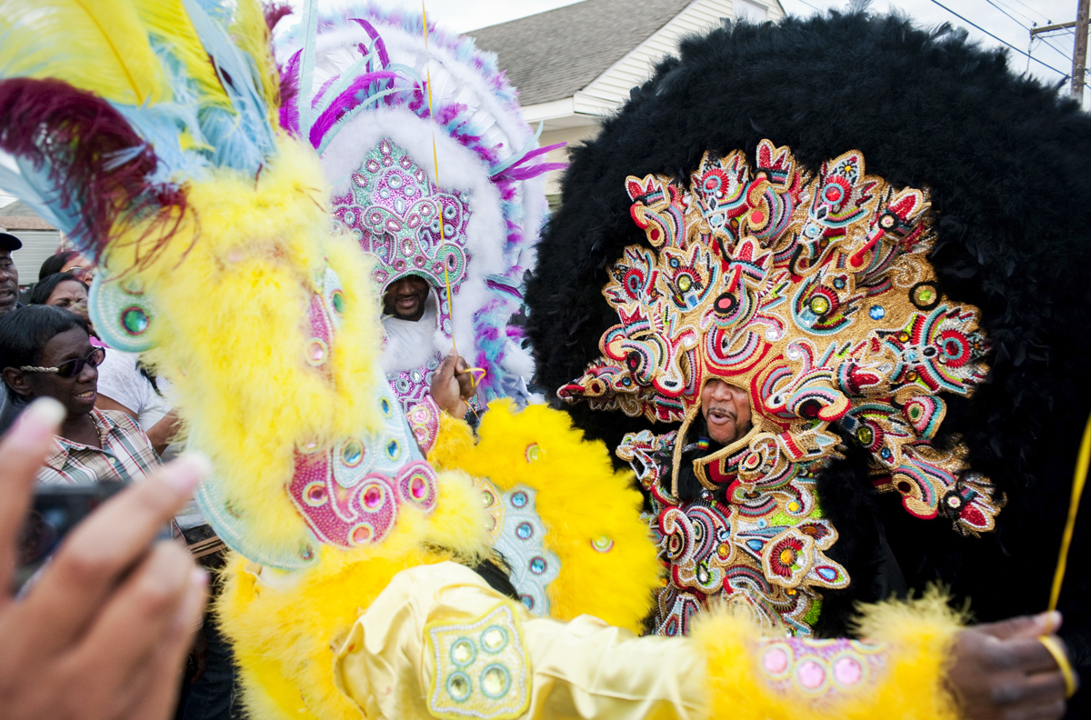 Monogram Hunters Big Chief Pie meets Young Generation Big Chief Boss Man on March 19, 2014.