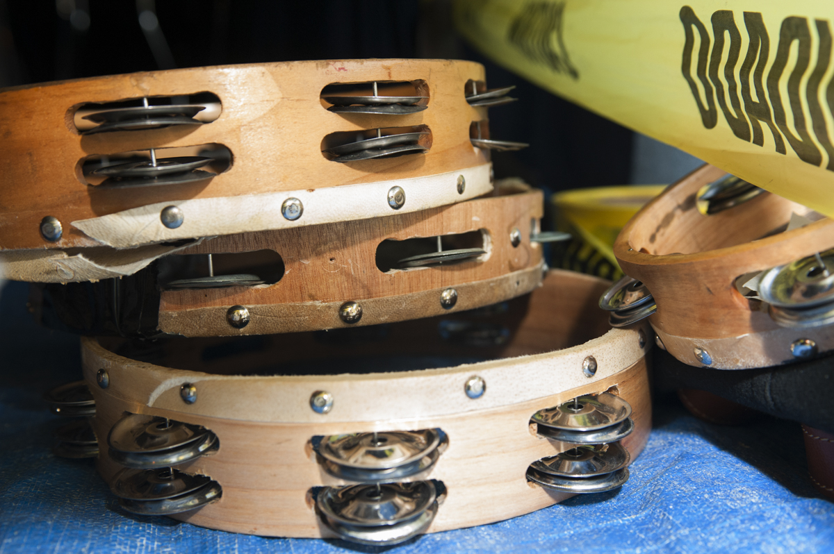 Tambourines stacked up before Indian Practice on February 8, 2015.