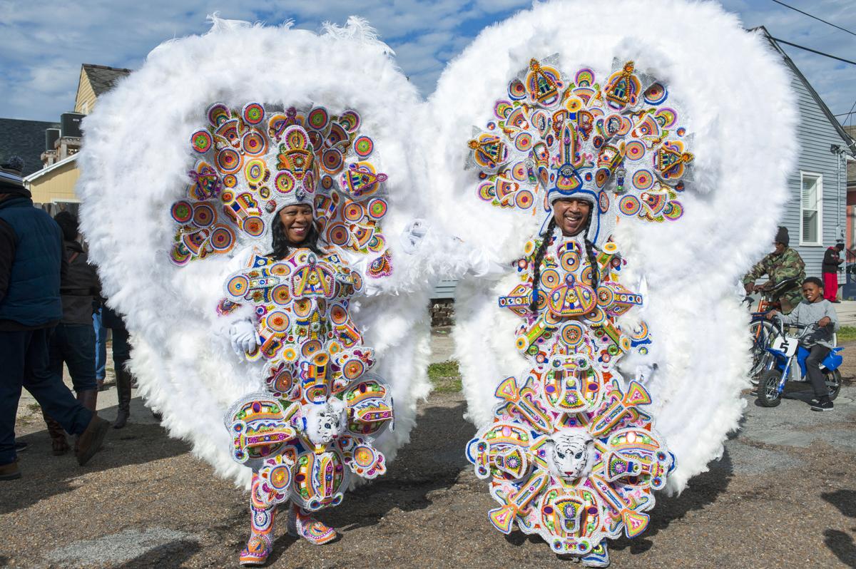 Monogram Hunters Big Queen Denice and Big Chief Pie on Mardi Gras day February 17, 2015.