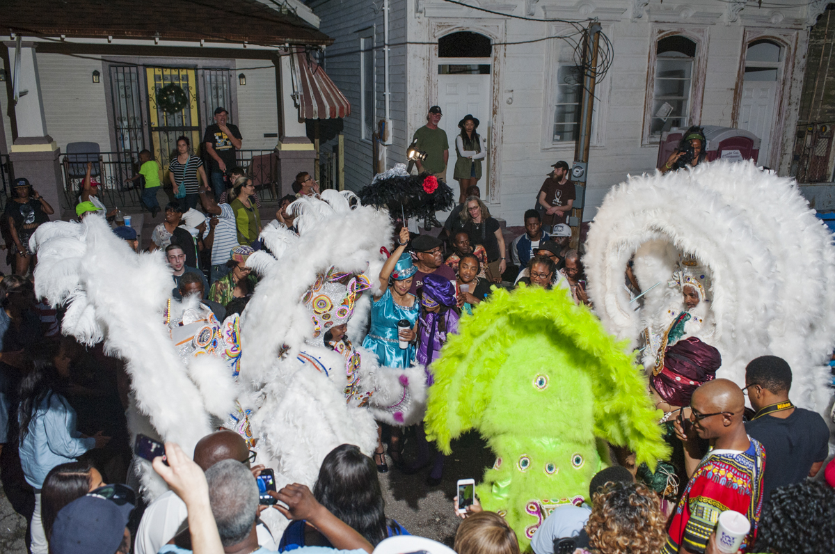 Monogram Hunters Big Chief Pie and Big Queen Denice meet Yellow Pocahontas Big Queen Gina and Big Chief Darryl  Montana during St. Joseph's Night on March 19, 2015.