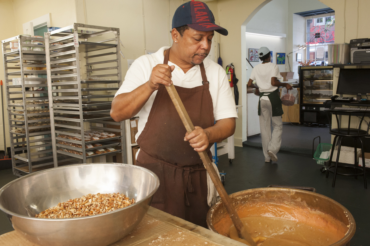 Big Chief Pie making pralines at Leah's Pralines shop in the quarter on October 7, 2015.