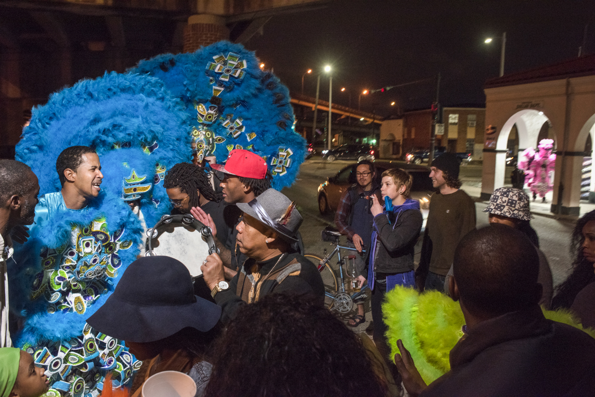 Monogram Hunters Second Chief Jeremy Stevenson leads the tribe on Saint Joseph's Night in New Orleans on March 19, 2016. Usually known as Saint Joseph's Day, in New Orleans Black or Mardi Gras Indians take to the streets in night of the holiday.