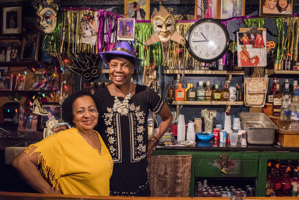 First and Last Stop Bar owner Miss Carol (left) on March 19, 2018.