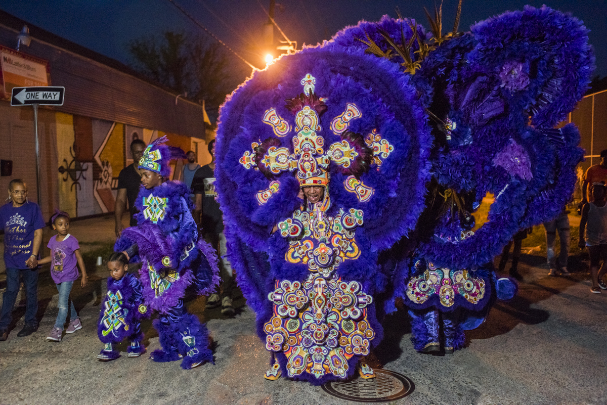 Big Chief Pie and the rest of the Monogram Hunters out during St. Joseph's Night on March 19, 2018.