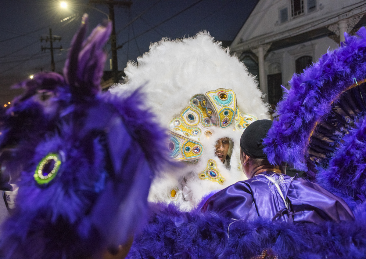 Yellow Pocahontas Big Queen Gina Montana meets Big Chief Pie during St. Joseph's Night on March 19, 2018.
