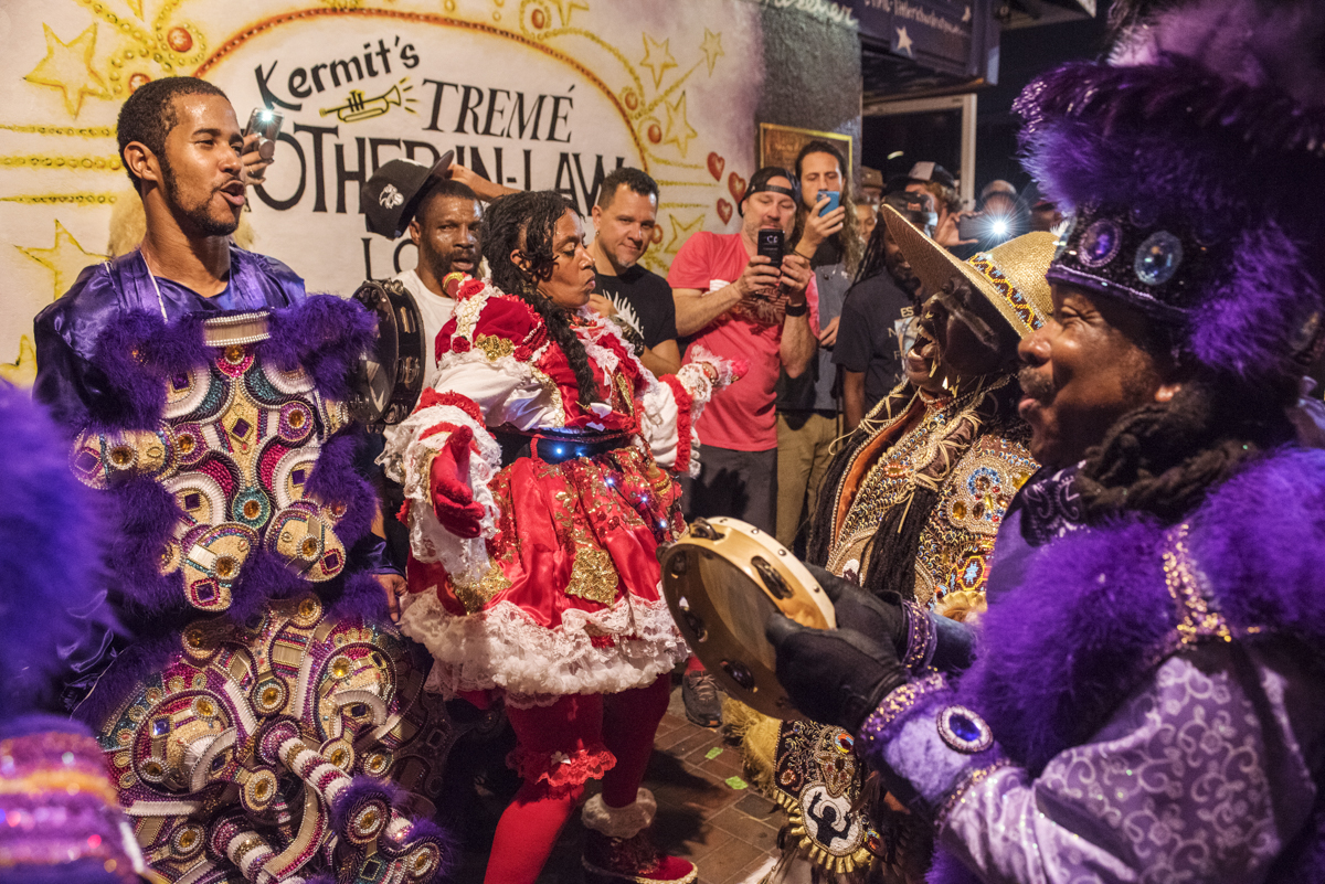 Chief Jeremy and Trail Chief Jah B sing with FiYiYi's Cinnamon Black and Creole Wild West Queen Rukiya in front of Kermit's Mother-In-Law Bar during St. Joseph's Night on March 19, 2018.
