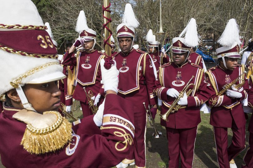 McDonogh 35 Senior High School Marching Band warms up at the top of the parade route for Mystic Krewe of Femme Fatale on February 24, 2019.