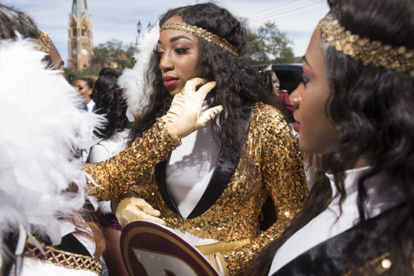 McDonogh 35 Senior High School Marching Band Letter Carrier Daya Jones gets ready for their entrance in the Mystic Krewe of Femme Fatale parade on February 24, 2019.