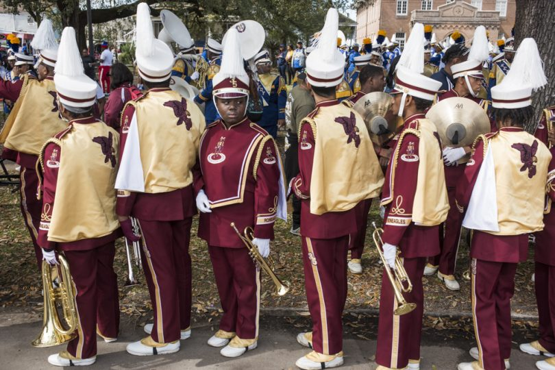 McDonogh 35 Senior High School Marching Band Dominique Washington looks at the crowd as they line up to join the Mystic Krewe of Femme Fatale parade on February 24, 2019.