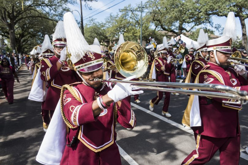 Antonio Barnes plays trombone for McDonogh 35 Senior High School Marching Band during the Mystic Krewe of Femme Fatale parade on February 24, 2019.