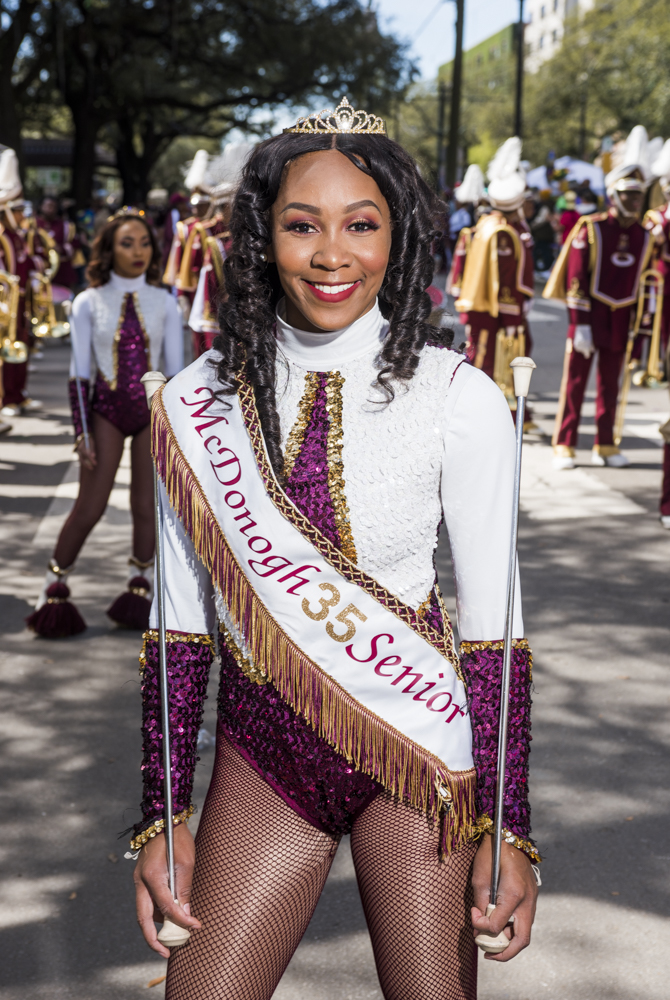 McDonogh 35 Senior High School Marching Band Majorette Mone' Octave along St Charles Ave for the Mystic Krewe of Femme Fatale parade on February 24, 2019.