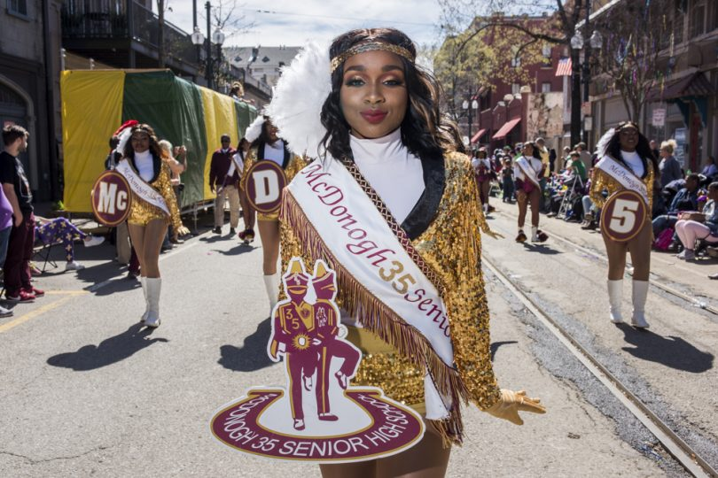 McDonogh 35 Senior High School Marching Band Letter Carrier Amaia Cole in the Mystic Krewe of Femme Fatale parade on February 24, 2019.