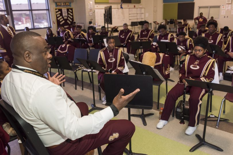 Band Direct Lawrence Rawlins give a post parade talk with McDonogh 35 Senior High School Marching Band on February 24, 2019.