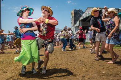 Lisa Wurtzel and her husband David dancing at the Fais Do-Do Stage during Jazz Fest day 4 on April 28, 2019. Photo by Ryan Hodgson-Rigsbee