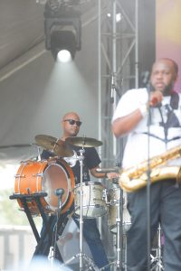 """Derrick """"Oops"""" Moss and Erion Williams of The Soul Rebels at Bonnaroo 2019"""