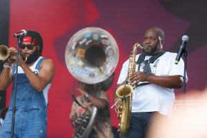 Julian Gosin, Manuel Perkins Jr. and Erion Williams of The Soul Rebels at Bonnaroo 2019