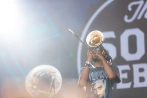 "Corey ""Passport P"" Peyton of The Soul Rebels at Bonnaroo 2019"